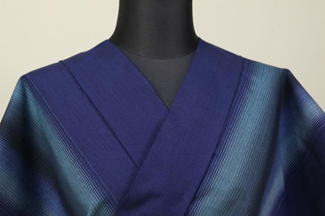 遠州木綿 木綿着物 オーダーお仕立て付き 二本縞 紺 ◆男女兼用◆