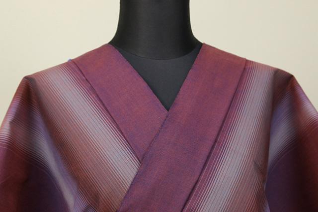 遠州木綿 木綿着物 オーダーお仕立て付き 二本縞 紫 ◆男女兼用◆