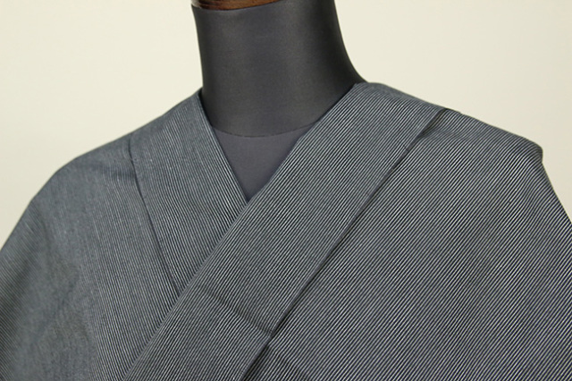 遠州木綿 木綿着物 オーダーお仕立て付き 六〇双糸 ピンストライプ 灰 ◆男女兼用◆