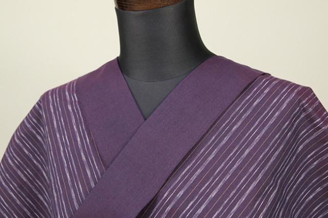 遠州木綿 木綿着物 オーダーお仕立て付き 六〇双糸 絣ストライプ 紫 ◆男女兼用◆