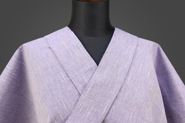 遠州木綿 木綿着物 オーダーお仕立て付き 経スラブ 藤色 ◆男女兼用◆