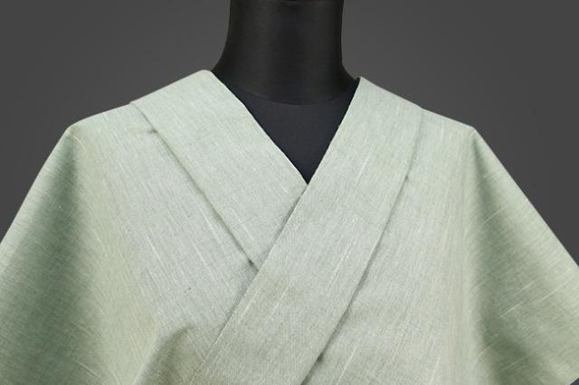 遠州木綿 木綿着物 オーダーお仕立て付き 経スラブ 薄緑 ◆男女兼用◆