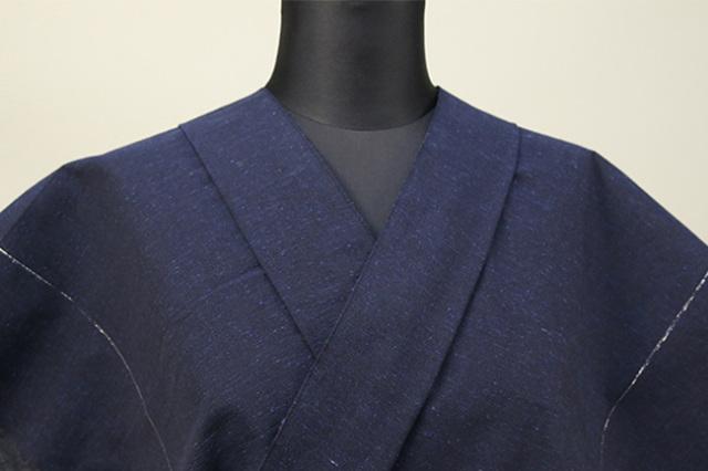 遠州木綿 木綿着物 オーダーお仕立て付き ラメ糸 紺 ◆男女兼用◆