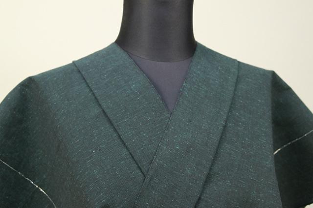 遠州木綿 木綿着物 オーダーお仕立て付き ラメ糸 深緑 ◆男女兼用◆