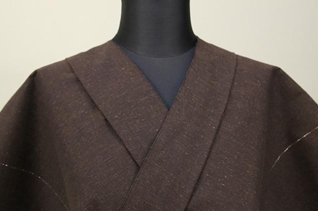 遠州木綿 木綿着物 オーダーお仕立て付き ラメ糸 茶 ◆男女兼用◆