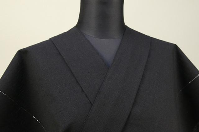 遠州木綿 木綿着物 オーダーお仕立て付き ラメ糸 黒 ◆男女兼用◆