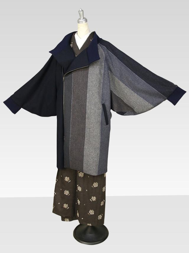 【生地の色柄が変わります】あづまやオリジナル あったか着物コート 袖口リブ付 Lサイズ  洋服にもお使いいただけます