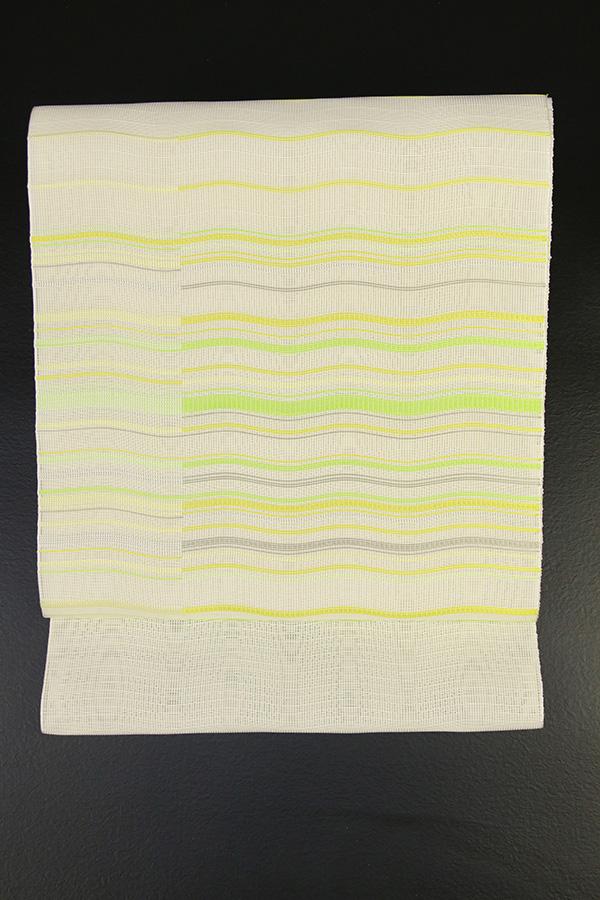 西村織物 博多織 八寸名古屋帯 正絹 お仕立て付き 黄系 波 横ストライプ