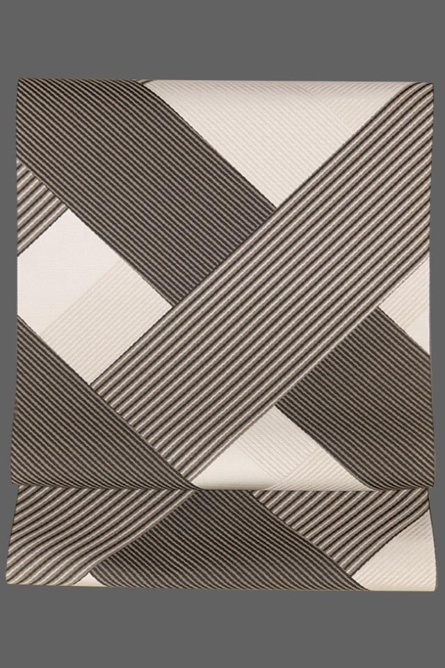 西村織物 博多織 八寸名古屋帯 正絹 檜垣 白×黒 ストライプ 仕立付き