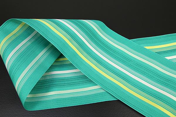 西村織物 悦 博多織 正絹半幅帯 粗紗 かがり仕立付 帯 ストライプ 絹100% 緑白黄