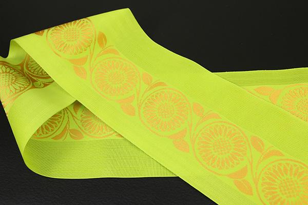 西村織物 悦 博多織 正絹半幅帯 紗 かがり仕立付 帯 花 絹100% 黄