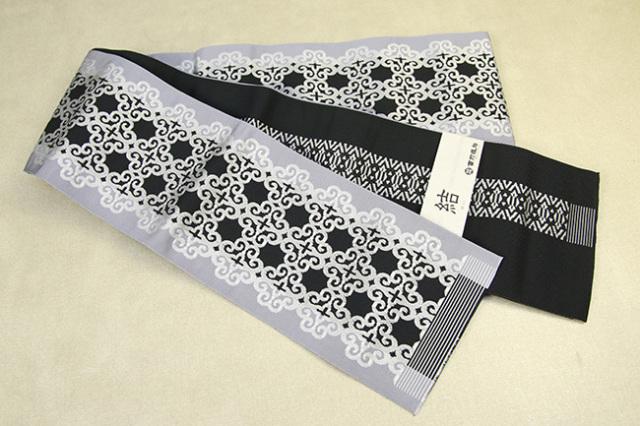 西村織物 結 博多織 正絹半幅帯 かがり仕立付 アラベスク 絹100% 白黒