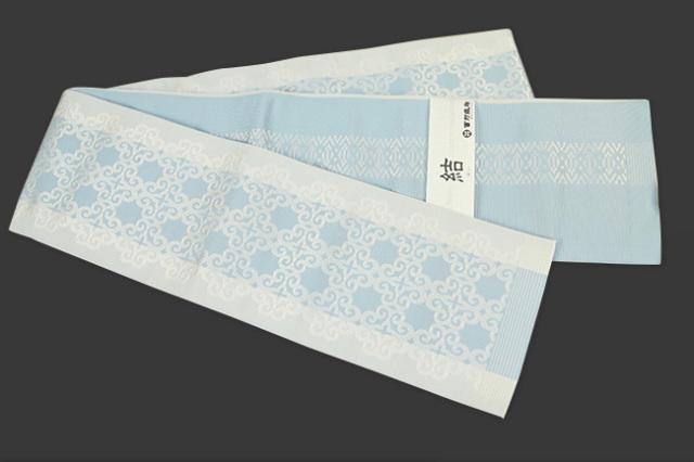 西村織物 結 博多織 正絹半幅帯 かがり仕立付 アラベスク 絹100% 水色