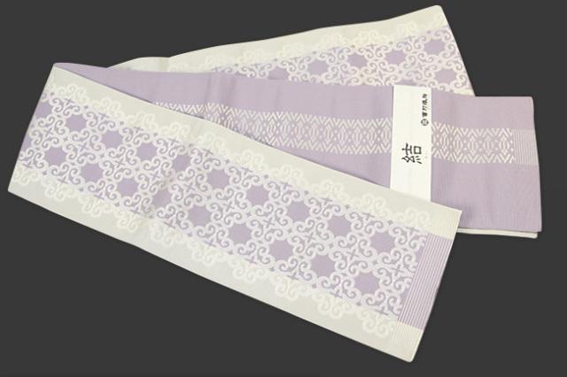西村織物 結 博多織 正絹半幅帯 アラベスク 絹100% ふじ色
