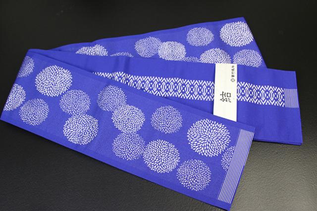 西村織物 結 博多織 正絹半幅帯 かがり仕立付 マム 絹100% 青
