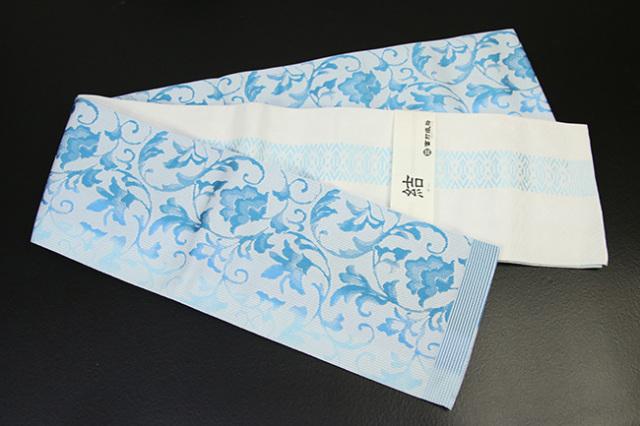 西村織物 結 博多織 正絹半幅帯 かがり仕立付 唐草ぼかし 絹100% 水色