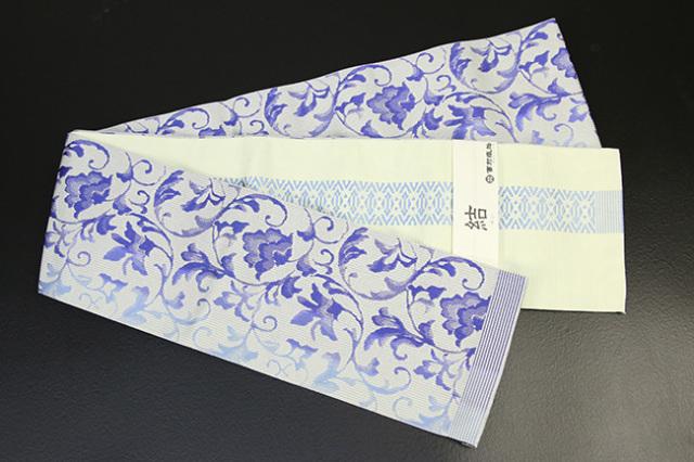 西村織物 結 博多織 正絹半幅帯 かがり仕立付 唐草ぼかし 絹100% 青紫