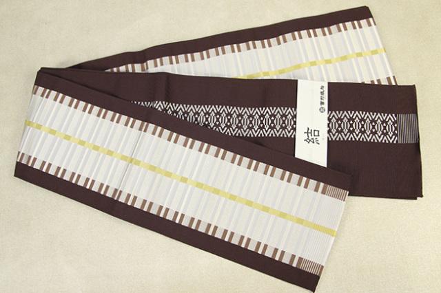 西村織物 結 博多織 正絹半幅帯 かがり仕立付 モダン格子 絹100% 茶