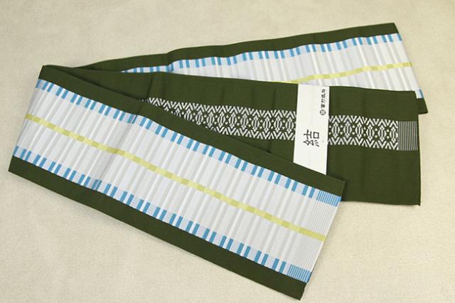 西村織物 結 博多織 正絹半幅帯 かがり仕立付 モダン格子 絹100% 深緑