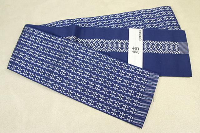 西村織物 結 博多織 正絹半幅帯 かがり仕立付 モダン幾何学 絹100% 青×白