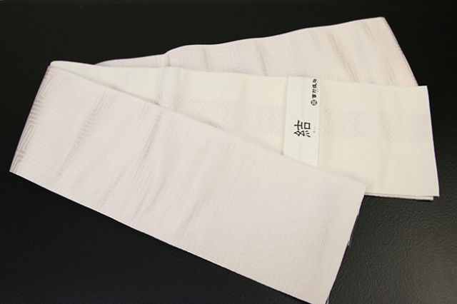 西村織物 結 博多織 正絹半幅帯 かがり仕立付 角縞 絹100% 薄桃