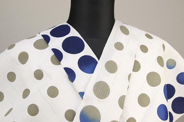 IKS浴衣(ゆかた) オーダー仕立て付き 水玉 白×青×黄土 女性にオススメ