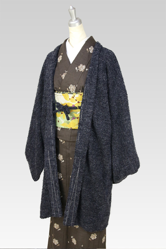 IKSコレクション ブークレツイード 羽織 ネイビー