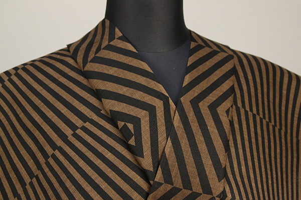 JUNKO KOSHINO浴衣(ゆかた) オーダー仕立て付き 綿50% 麻50% 幾何学模様 茶×黒