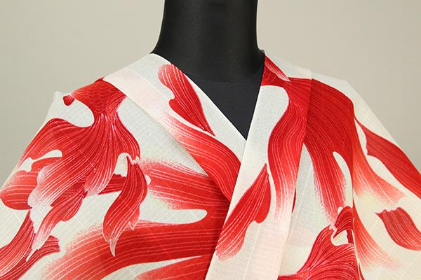 誉田屋源兵衛 綿麻浴衣(ゆかた) オーダー仕立て付き 金魚 白×赤 ◆男女兼用◆