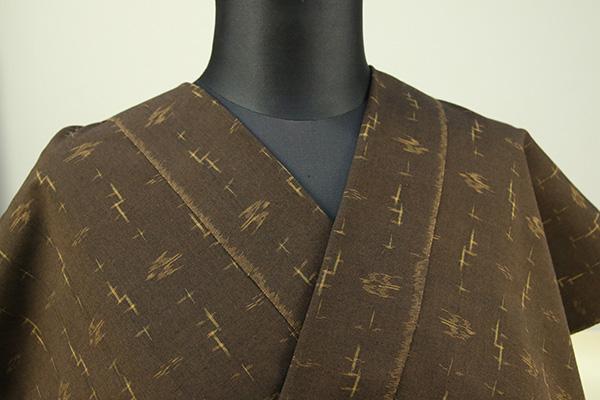 久留米絣 木綿着物 オーダーお仕立て付き 普段着きもの 絣柄 茶 ◆女性にオススメ◆