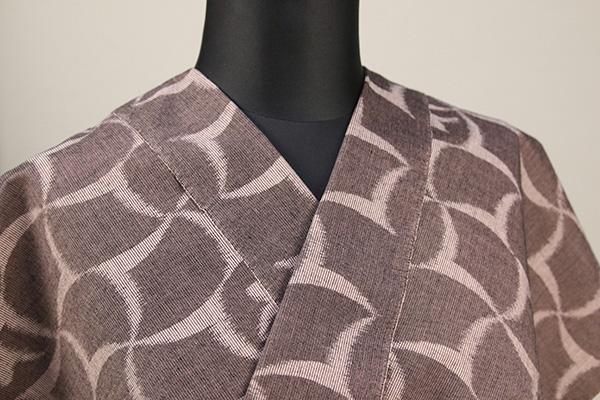 久留米絣 木綿着物 オーダーお仕立て付き 抽象柄 茶×ベージュ ◆女性にオススメ◆