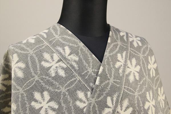 久留米絣 木綿着物 オーダーお仕立て付き 普段着きもの 花 灰 ◆女性にオススメ◆