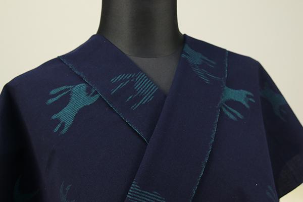 久留米絣 木綿着物 オーダーお仕立て付き 普段着きもの 兎 紺×深緑◆女性にオススメ◆