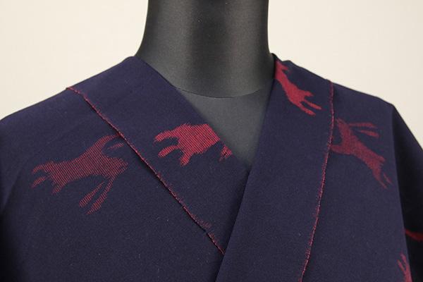 久留米絣 木綿着物 オーダーお仕立て付き 普段着きもの 兎 紺×赤◆女性にオススメ◆