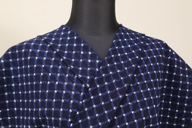 久留米絣 木綿着物 オーダーお仕立て付き 格子 藍 ◆女性にオススメ◆