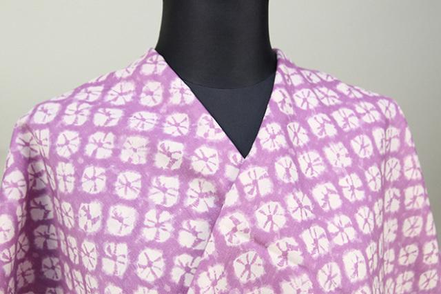 モス長襦袢 オーダーメイドお仕立付き! 紫絞り柄 男女兼用  毛100% 普段着に洗えてオススメ!
