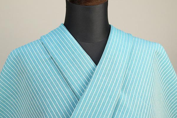 夏のKIPPE(きっぺ) 涼しま よねざわもめん 綿麻 オーダーお仕立て付き 水色 ◆男女兼用◆