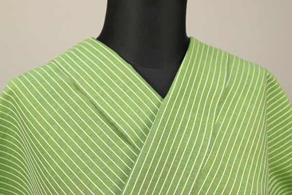 夏のKIPPE(きっぺ) 涼しま よねざわもめん 綿麻 オーダーお仕立て付き 薄緑灰14-2 ◆男女兼用◆