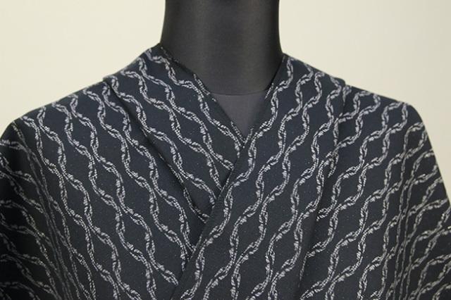 Kimono Factory nono 木綿着物 オーダーお仕立て付き GRITTER(グリッター)Chainチェーン 黒灰