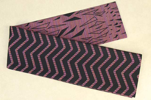 Kimono factory nono 半幅帯 綿 グリッター ラメ ジグザグボーダー 欠片 ピンク×黒