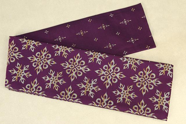 Kimono factory nono 半幅帯 綿 グリッター ラメ 炎雪 小華 紫