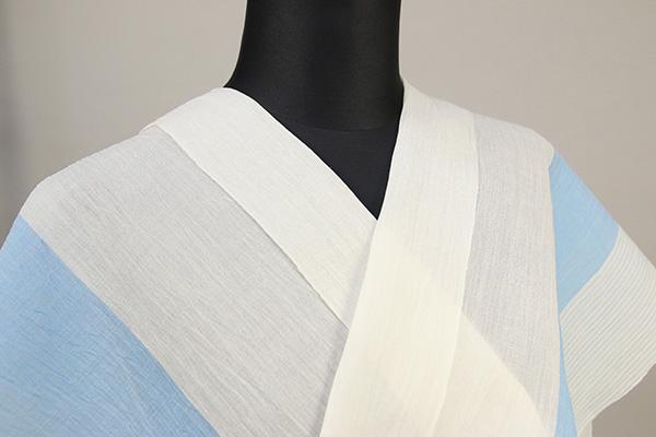 夏着物 小千谷ちぢみ 杉山織物  楊柳 オーダー仕立て付き ストライプ 白×水色