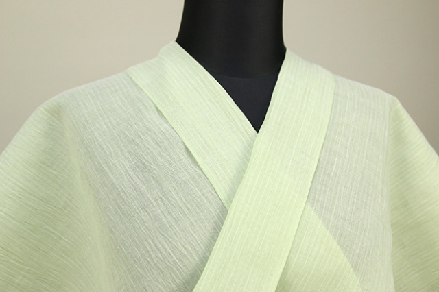夏着物 小千谷ちぢみ 吉新織物 楊柳 オーダー仕立て付き 薄緑 ◆女性にオススメ◆