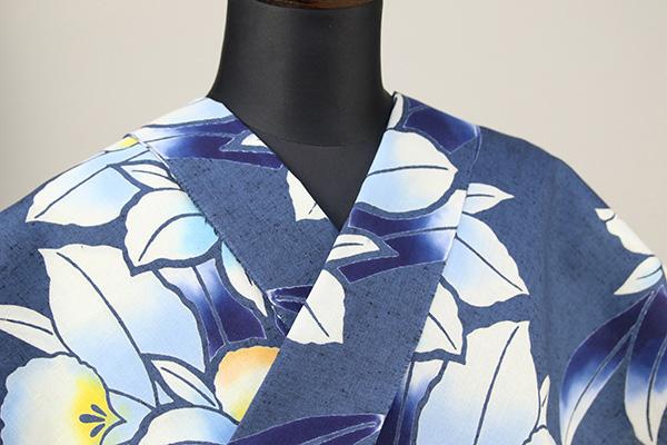三勝 注染浴衣(ゆかた) 浴衣(ゆかた) オーダー仕立て付き 花 藍色地 白青 ◆女性にオススメ◆