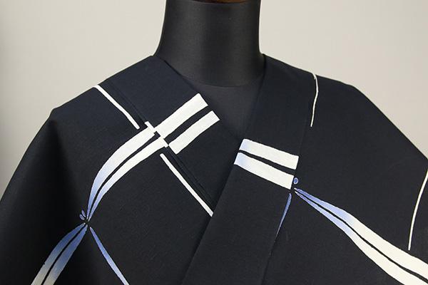 三勝 注染浴衣(ゆかた) 浴衣(ゆかた) オーダー仕立て付き 蜻蛉 藍白 ◆女性にオススメ◆
