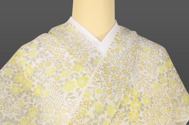 三勝 絹紅梅 夏着物 オーダー仕立て付き 花柄 白×黄 ◆女性にオススメ◆
