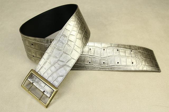 角帯 半幅帯 蔦屋久兵衛 本革ベルト 銀