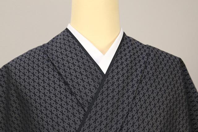 正絹 洗えるお召し単衣着物 オーダー仕立て付 ワタマサ クロス 黒