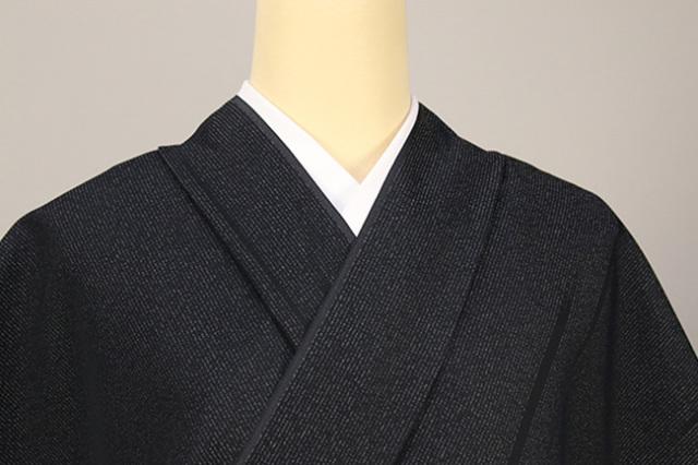 正絹 洗えるお召し単衣着物 オーダー仕立て付 ワタマサ ストライプ 黒