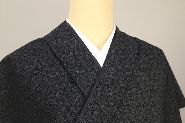 正絹 洗えるお召し単衣着物 オーダー仕立て付 ワタマサ 松葉散らし 黒